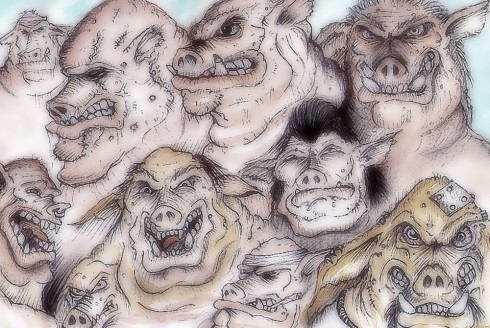 A Facial study of the Oggam (I know they're pigs, facial not faecal!)