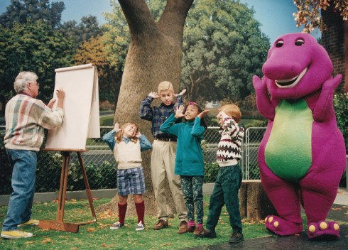 "Rolf ""paedo"" Harris pops by to sketch Barney and his child cult whilst in the process of praising the dark lord Satan."